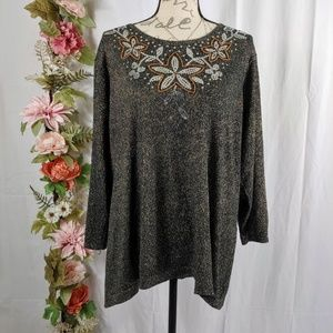 Cathy Daniels Floral Sequined Lightweight Sweater